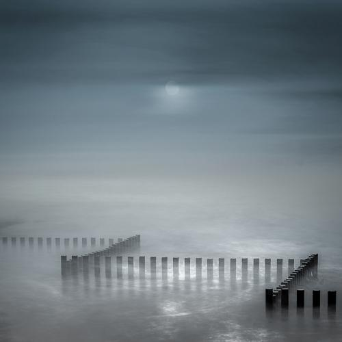 Moonrise over Caister Beach by Des King